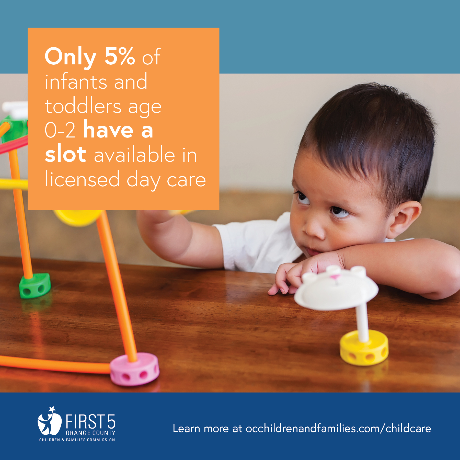 Only 5% of infants and toddlers age 0-2 have a slot available in licensed day care