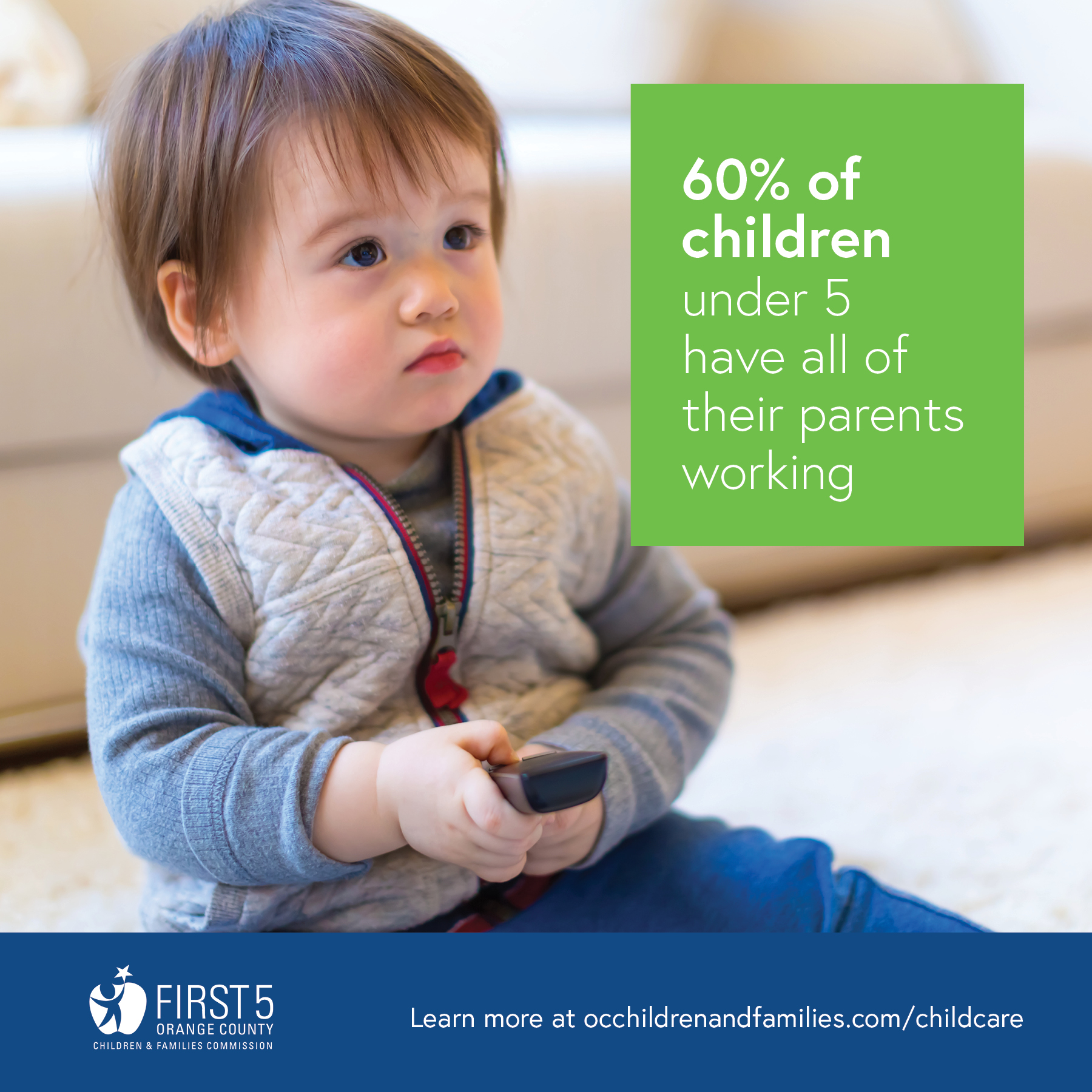 60% of children under 5 have all of their parents working