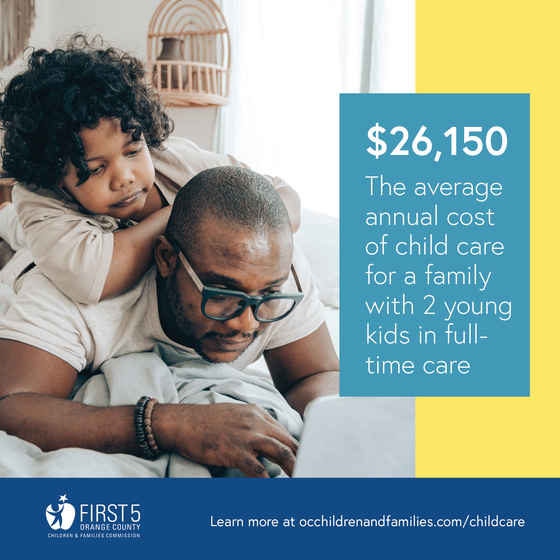$26,150 - the average annual cost of child care for a family with 2 young kids in full-time care